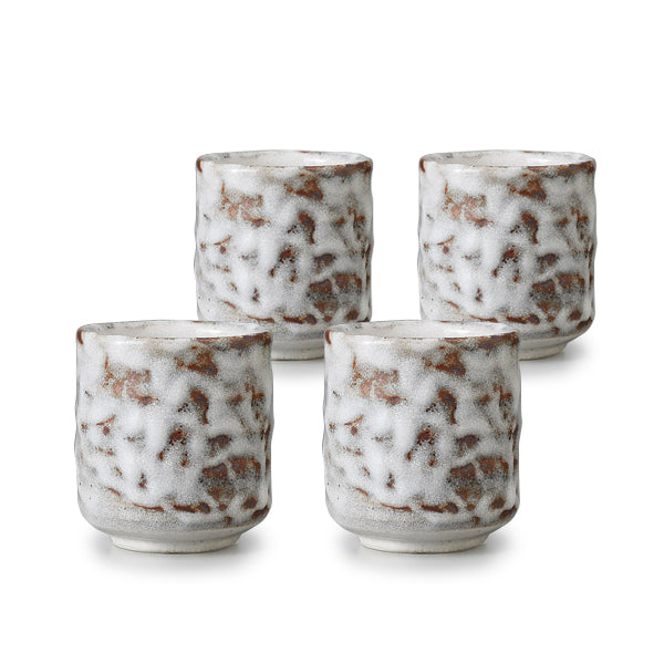 Oni Shino Pottery Tea Cup Set of 4
