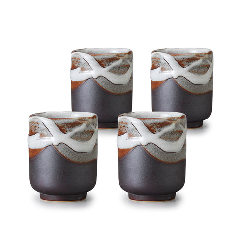 Fresh Snow Pottery Tea Cup Set of 4