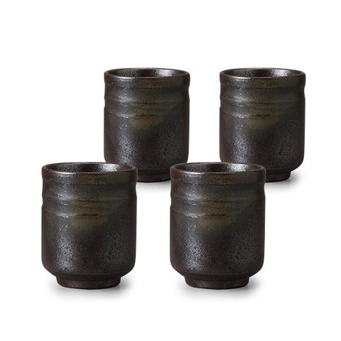 Bizen Green Blow Pottery Tea Cup Set of 4
