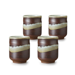 Rust Brush Pottery Tea Cup Set of 4
