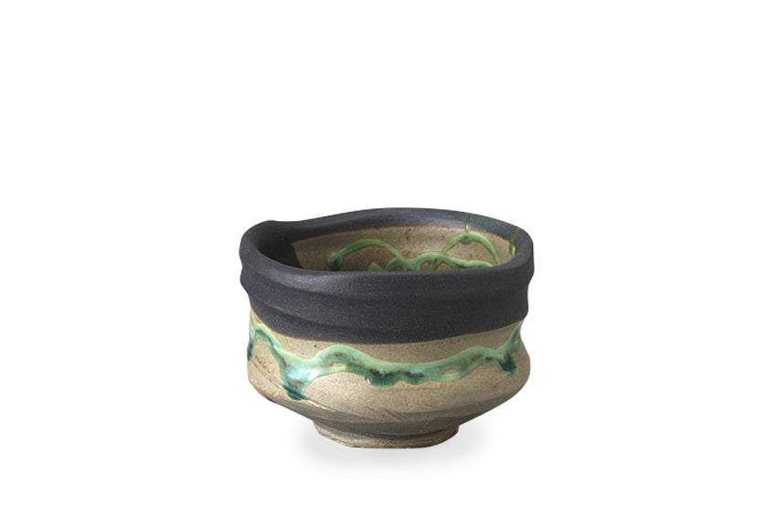 Black Deep Sea Mino Ware Matcha Bowl