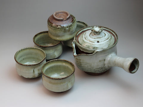 White Glaze Hagi Ware Tea Set by Seigan