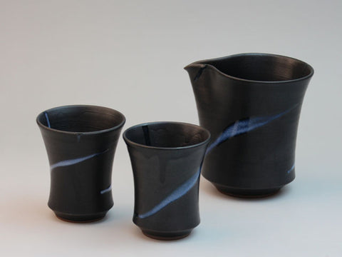 White Glaze Flow Hagi Ware Cold Sake Set