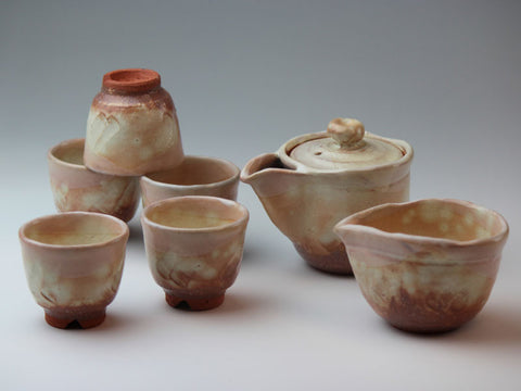 Kohiki Hagi Ware Tea Set
