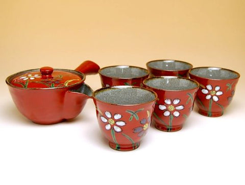 Red Flowers Arita Porcelain Tea Set