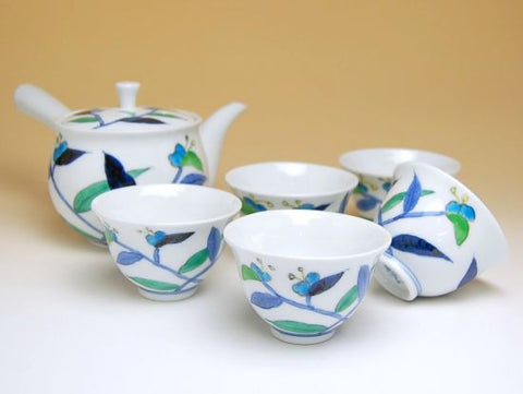 Flower Journey Japanese Commelina Arita Porcelain Tea Set