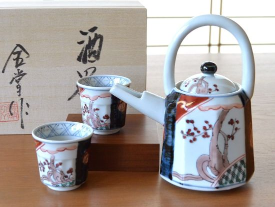 Old Imari with Handle Carafe Sake Set