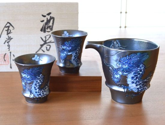 Emperor Dragon Sake Set Trumpet Shape