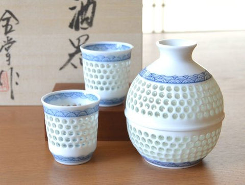 Crystal Wave Arita Porcelain Sake Set