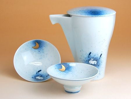 Takumi no Kura Moon and Rabbit Arita Porcelain Sake Set