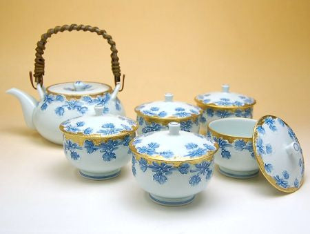 Golden Japanese Chrysanths Arita Porcelain Tea Set