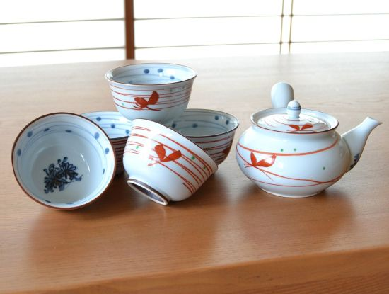 Wild Japanese Chrysanths Arita Porcelain Tea Set Type B