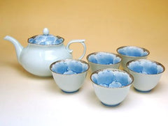 Platinum Peoney Arita Porcelain Tea Set