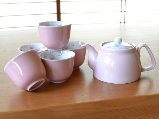 Pink Flower Arita Porcelain Tea Set