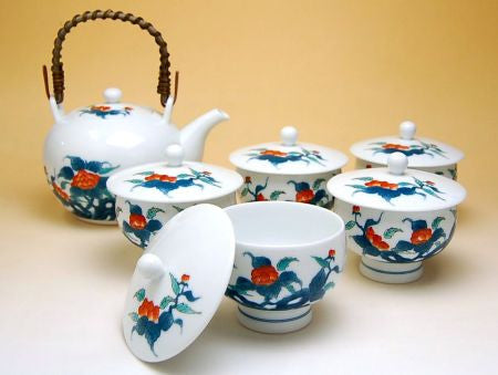 Japanese Peoney Arita Porcelain Tea Set Type B