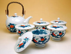 Japanese Peoney Arita Porcelain Tea Set
