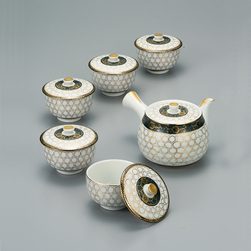 Turtle Crest Kutani Ware Tea Set