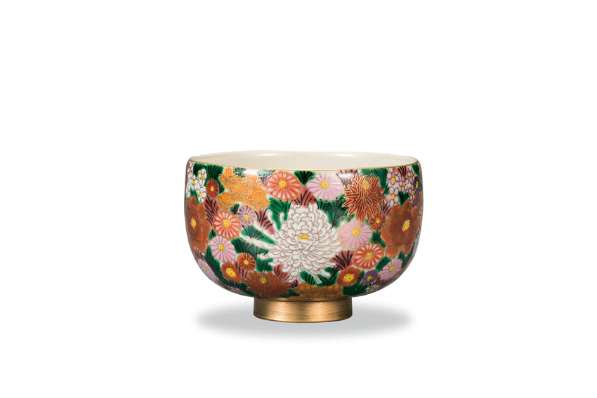 Golden Pave Flowers Kutani Ware Matcha Bowl