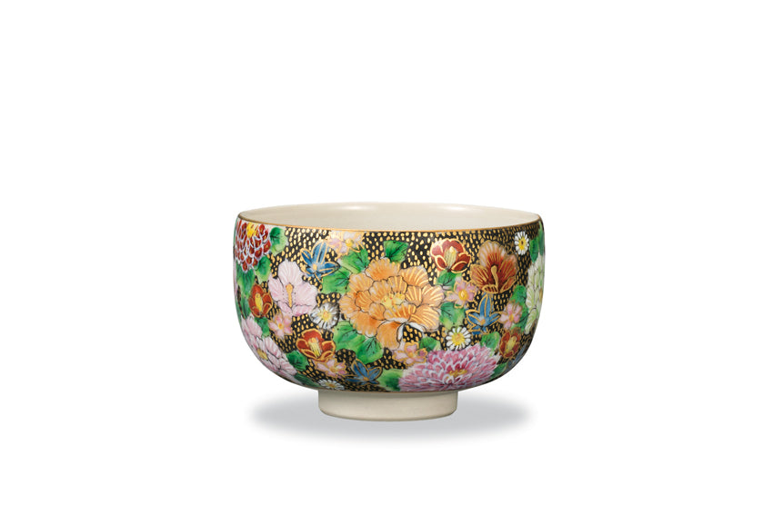 Golden Paved Flowers Kutani Ware Matcha Bowl