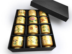 Japanese Four Seasons Flowers Sake Cups Set of 12