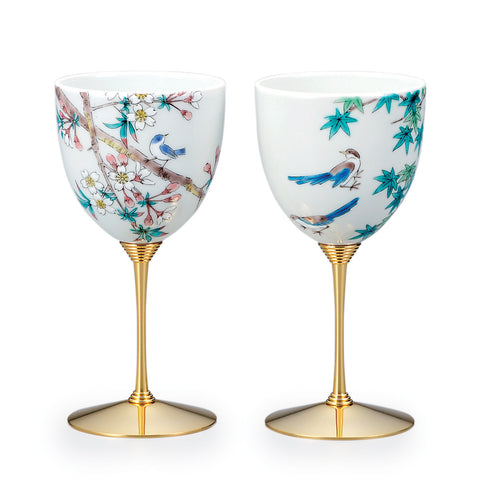 Tweet Spring Kutani Ware Porcelain Wine Goblet Set of 2