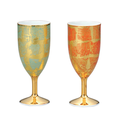 Golden Leaf Kutani Ware Porcelain Champagne Glass Set of 2