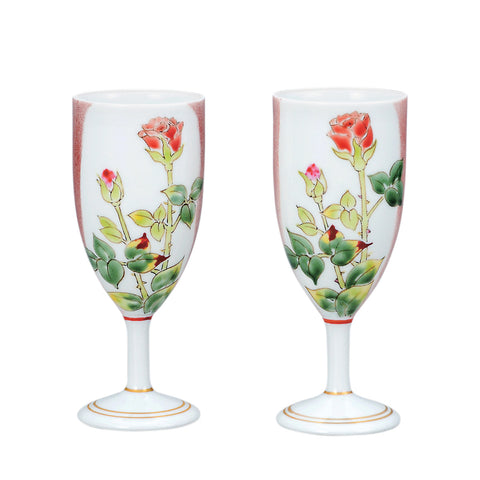 Rose Kutani Ware Porcelain Champagne Glass Set of 2