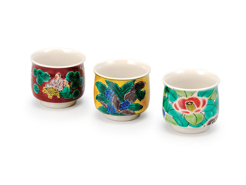 Three Flowers Kutani Ware Sake Cup Set of 3