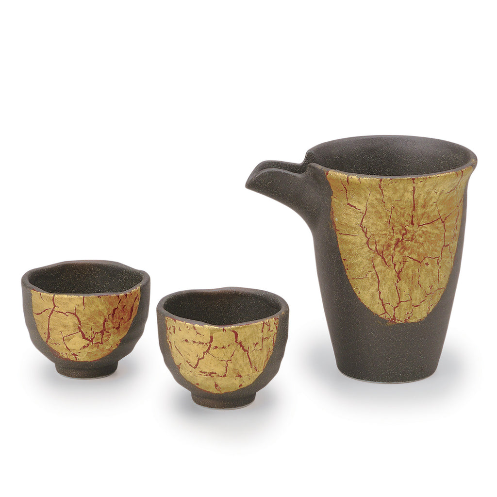 Golden Leaf Kutani Ware Sake Set