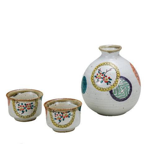 Circle Pattern Kutani Ware Sake Set