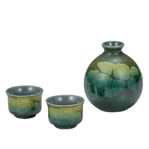 Silver Mt. Tea Flower Kutani Ware Sake Set