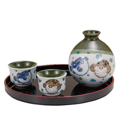 Blowfish and Porcupine Fish Kutani Ware Sake Set