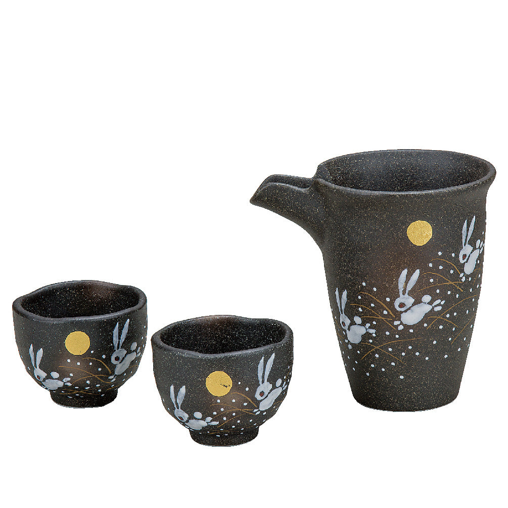 Dancing Rabbit Kutani Ware Sake Set