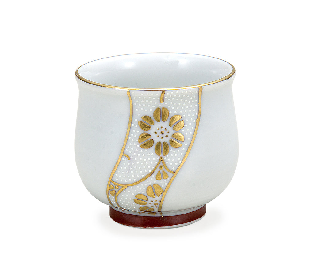 Golden Twist White Dots Kutani Ware Sake Cup