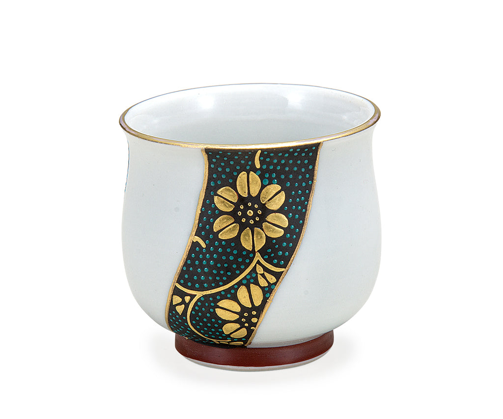 Golden Twist Blue Dots Kutani Ware Sake Cup