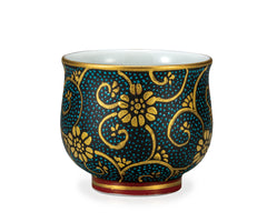 Golden Blue Dots Kutani Ware Sake Cup