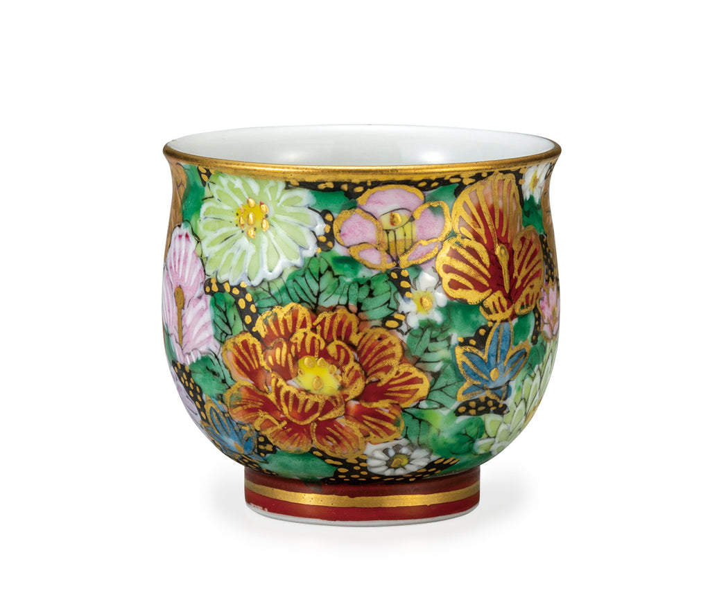 Golden Paved Flower Kutani Ware Sake Cup