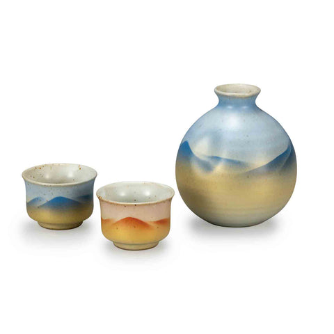 Kinsai Mountain Range Kutani Ware Sake Set