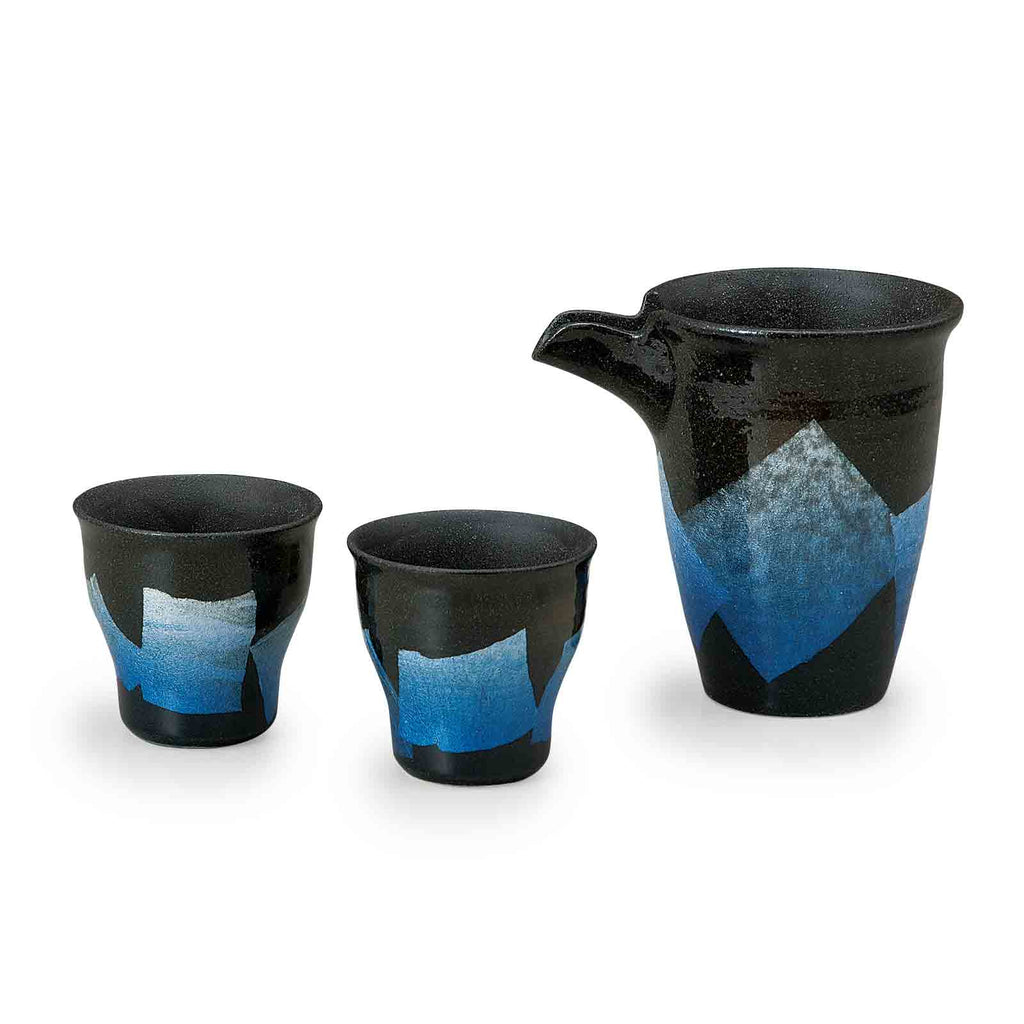 Black and Blue Ginsai Kutani Ware Sake Set