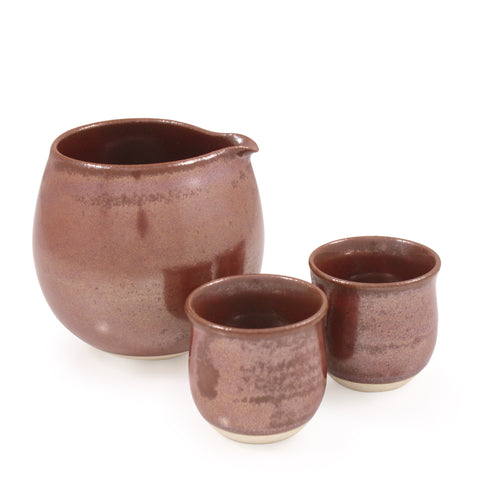 Hokkori Persimmon Red Arita Porcelain Sake Set