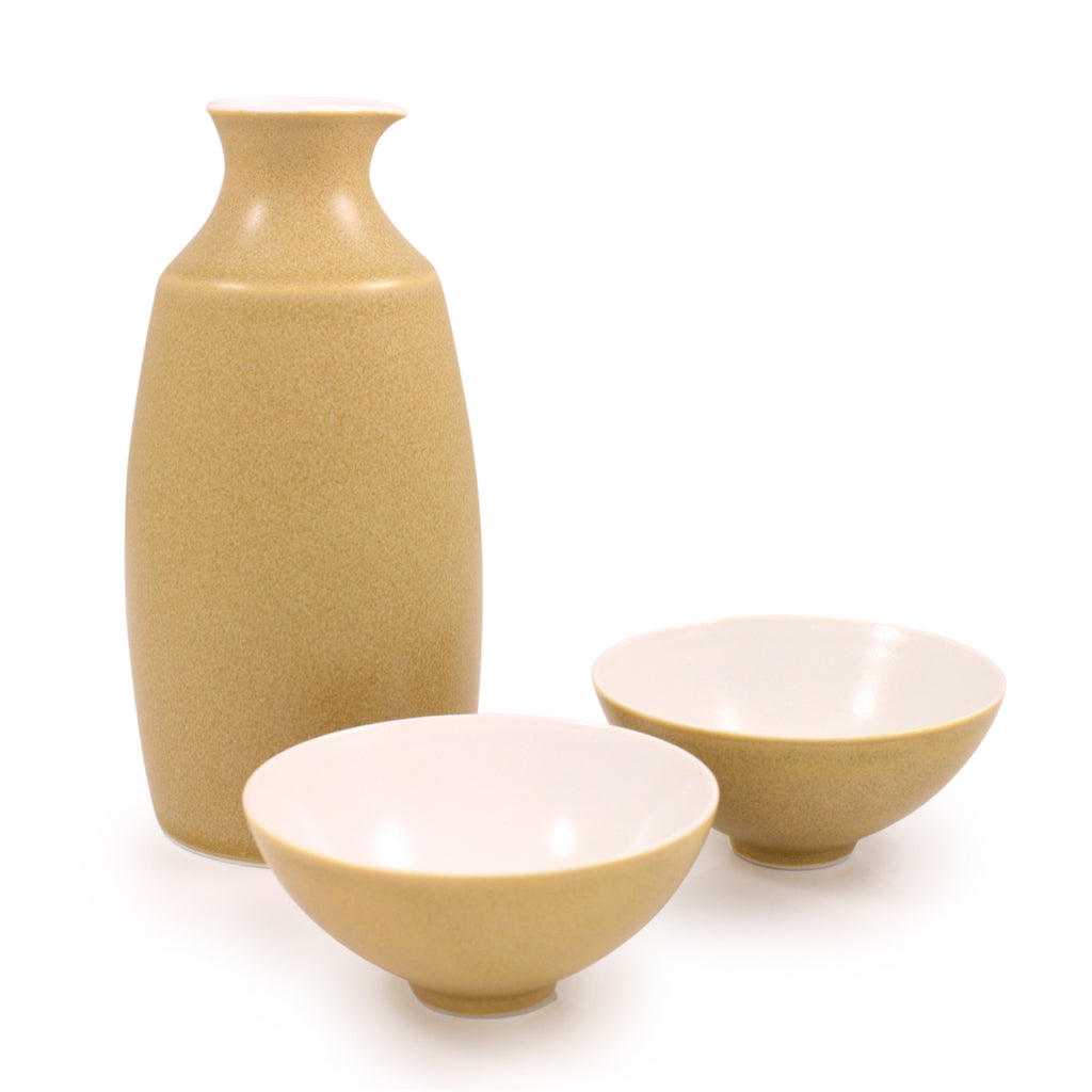 Yellow Crystalline Glaze Arita Porcelain Sake Set