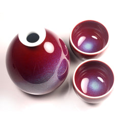 Cinnabar Masterpiece Sake Set by Shinemon Kiln