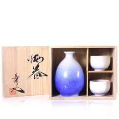 Aizome Suiteki Masterpiece Sake Set by Shinemon Kiln