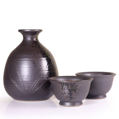 Black Arita Porcelain Sake Set