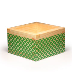 Color Masu (Wooden Sake Cup) Kiriko Green