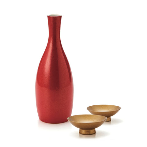 Red Lacquer Carafe and Gold Gilt Cup Sake Set