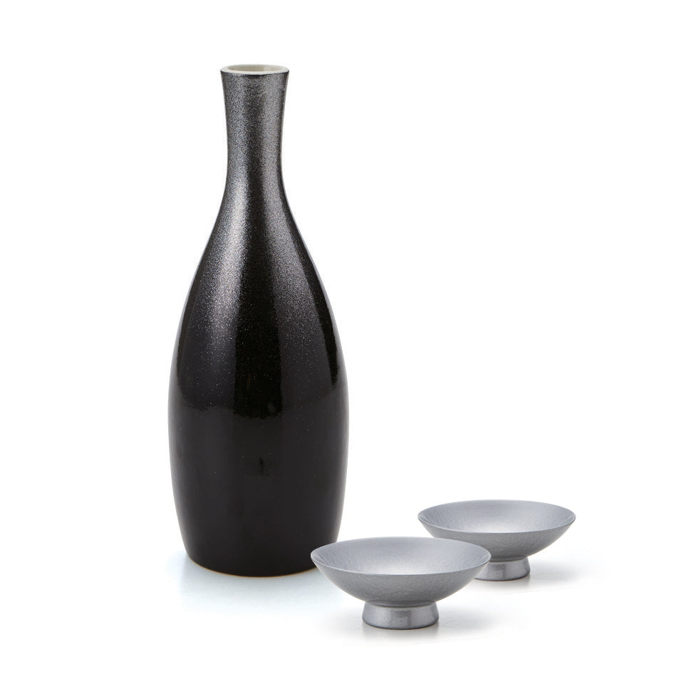 Black Lacquer Carafe and Silver Foil Cup Sake Set