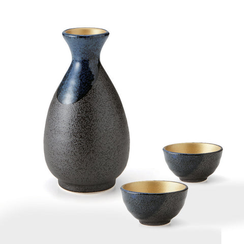 Blue Flow Gold Inside Sake Set