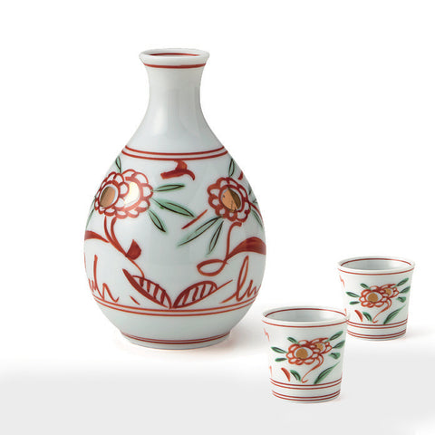 Red Flower Sake Set