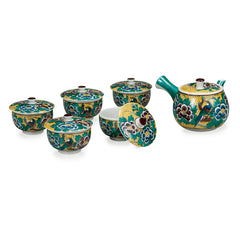 Yoshidaya Flower and Bird Kutani Ware Tea Set